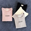 Long Sleeve T shirt Women Casual O-Neck Letter Pattern Loose Korean Style Brief Spring 2017 New Women's Cotton shirt Pink M9209