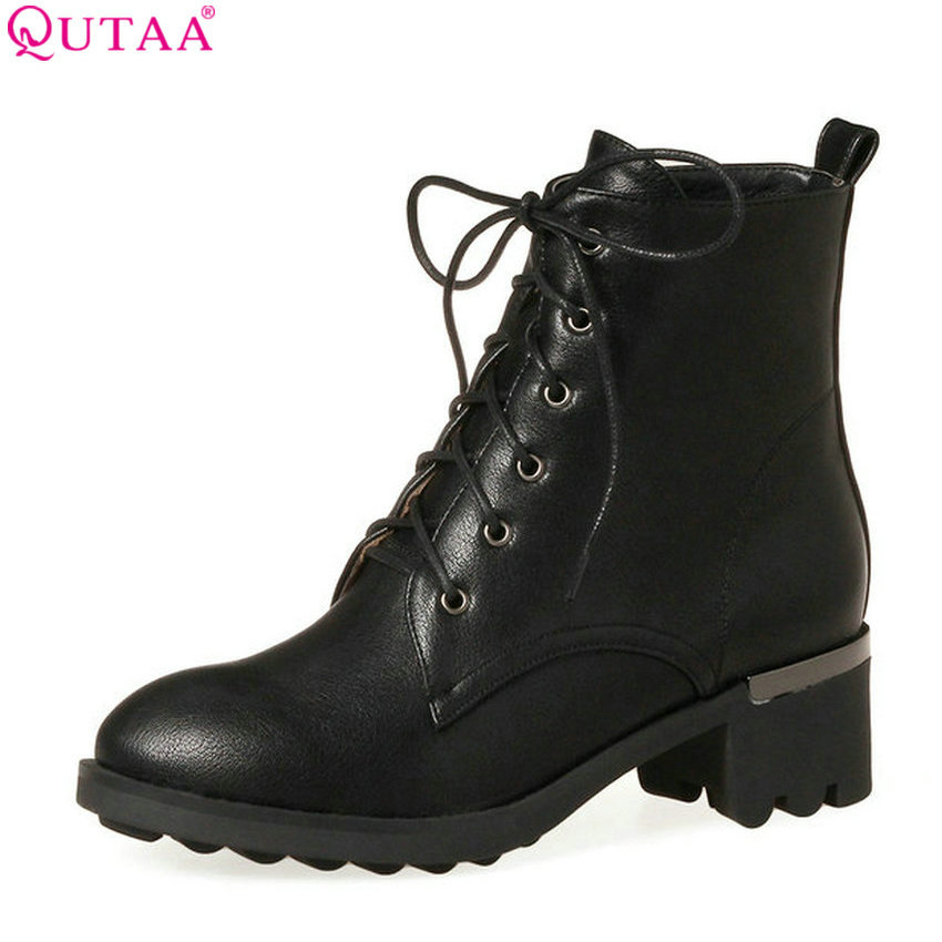 QUTAA 2018 Women Ankle Boots Pu Leather Square Mid Heel Round Toe Women Boots Fashion Lace Up Ladies Ankle Boots Size 34-43 18 5 dark gray and light gray and white and transparent holographic rear projection film