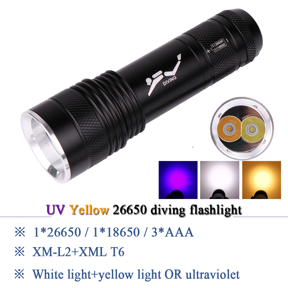 Led Flashlights Scuba Diving Flashlight Xml T6 Uv395nm Purple Light Waterproof Torch Underwater Lamp Lanterna 26650 Linterna