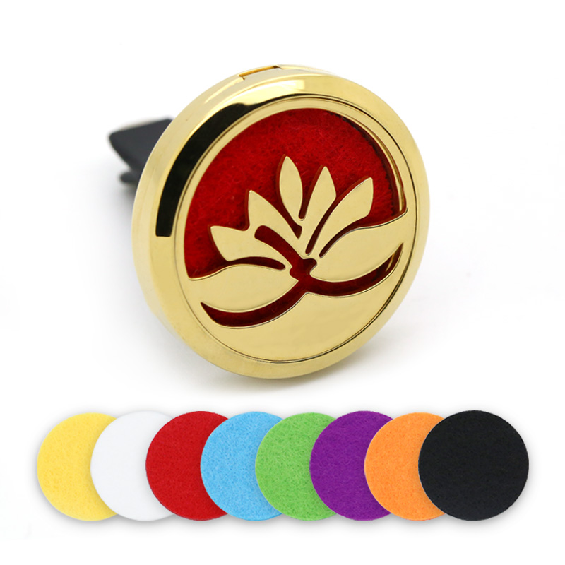 30MM Gold Magnet Stainless Steel Lotus Car Essential Oil Aromatherapy Locket Car Perfume Diffuser Locket With Felt Pads