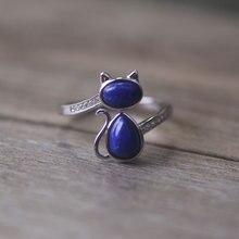 Hot 925 joyas de Plata de la CZ Diamante Natural Lapis Gato Anillos Ajustables para Mujeres Femme Bague Anillos Mujer Anillo de la Abertura