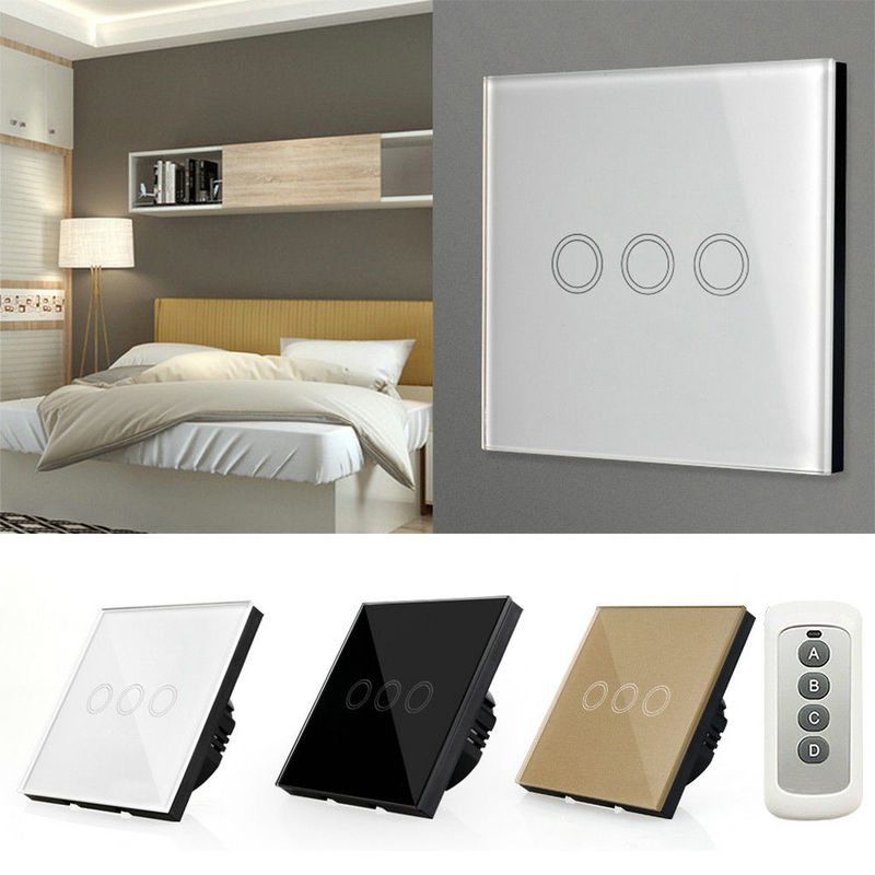 EU/UK Standard 1/2/3 Gang <font><b>RF433</b></font> Remote Control <font><b>Wall</b></font> Switch, Wireless Smart Light Switches, Glass Panel Touch Switch AC 110V-220V image