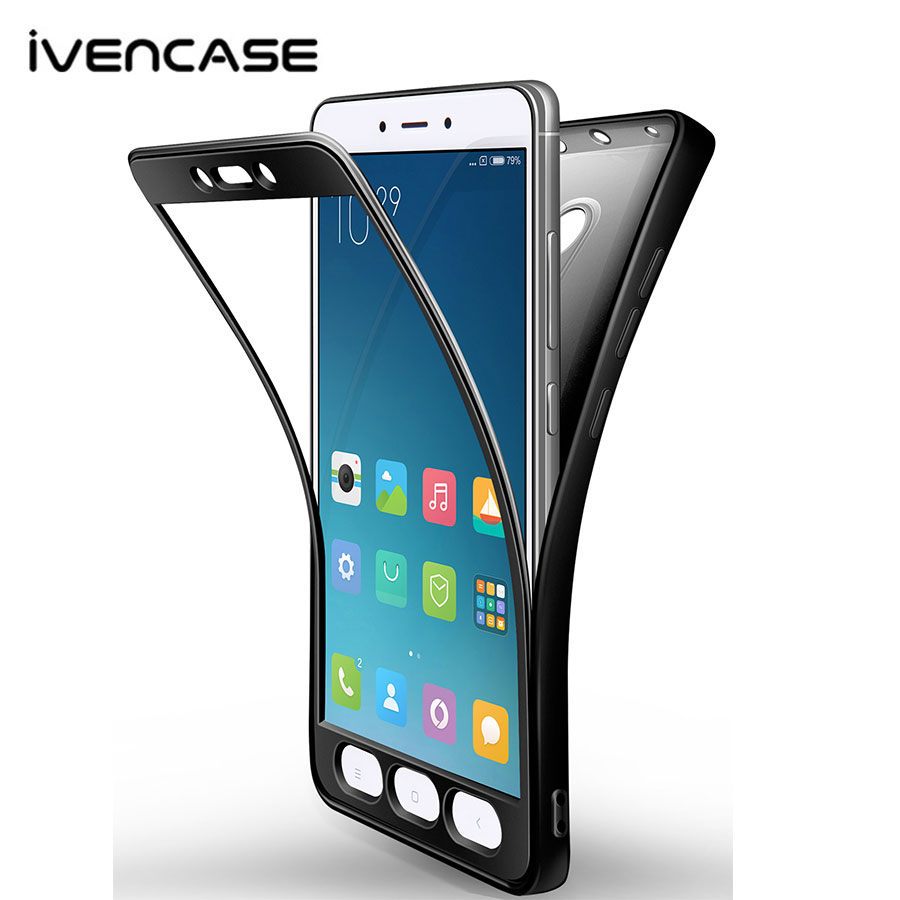 ivencase For Xiaomi Redmi 4X/ Note 4/Note 4X/ Mi A1/ Mi 5X Cases Soft Silicone 360 Degree Full Body Protective Cover For Xiaomi