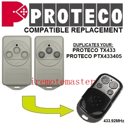 PROTECO TX433,PTX433405 compatible replacement remote control 433MHZ fixed code