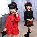 2016 Meninas Primavera Verão Elegante Bonito Vestido Da Menina de Manga Comprida Vestido de Princesa Criança Crianças Roupas de Algodão Frete Grátis