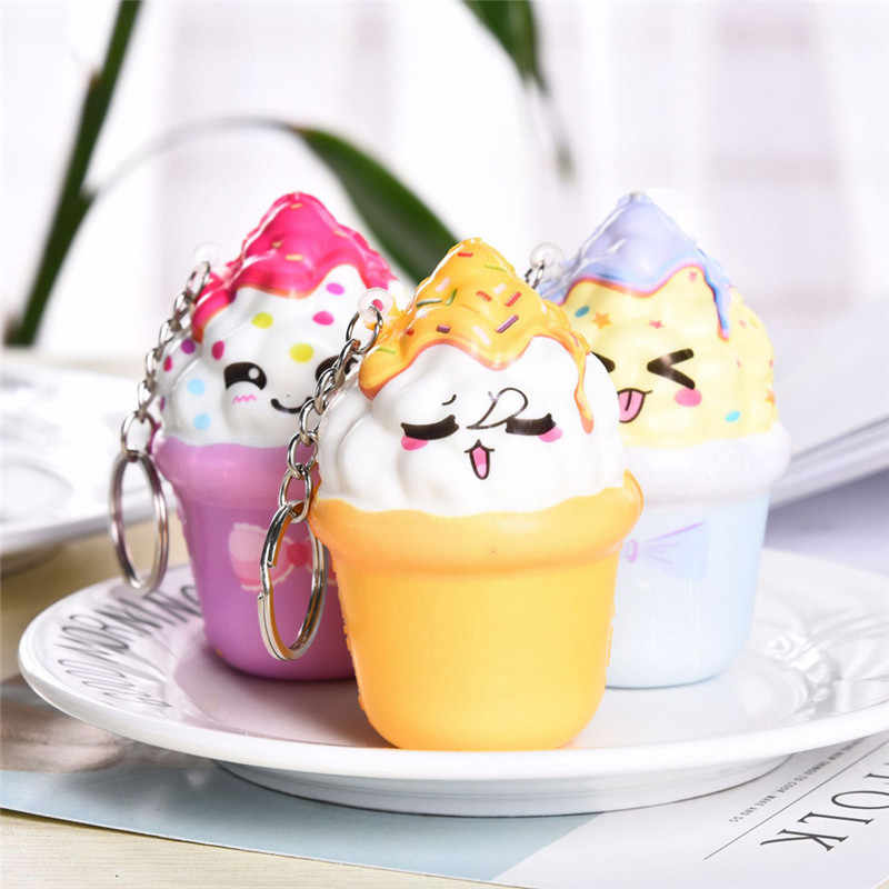 2018 Tops Qualidade Squishies Kawaii Ice Cream Lento Nascente Creme Perfumado Chaveiro Stress Relief Toy Presentes antistress coloriages L *