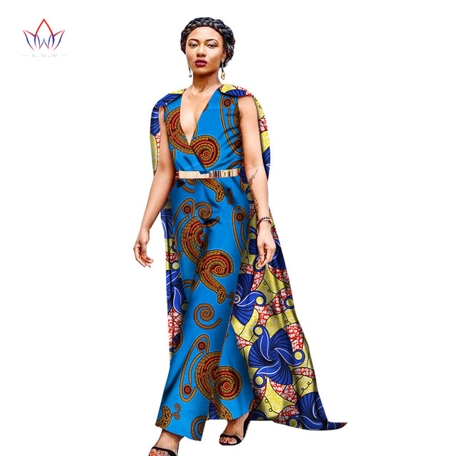 16e0c8e612f5 New Autumn Africa Wax Print Jumpsuit For Women 100% Cotton Pant With cloak  African Dashiki Jumpsuit For Lady WY1421