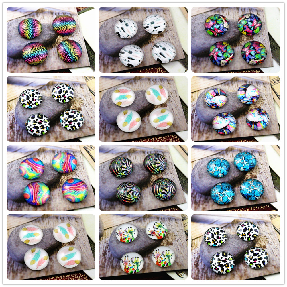 New Fashion 20pcs 12mm Handmade Photo Glass Cabochons (Colors Corrugated Feathers)