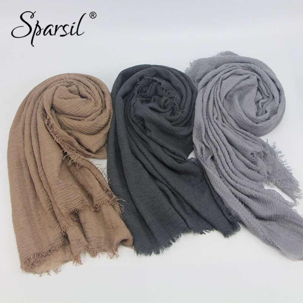 3f42d0beab9 Sparsil Women New Cotton Crinkle Scarves Muslim Hijab Stylish Tassel  Comfort Scarf Shawl Solid Color 180cm Soft Islam Veil Wraps