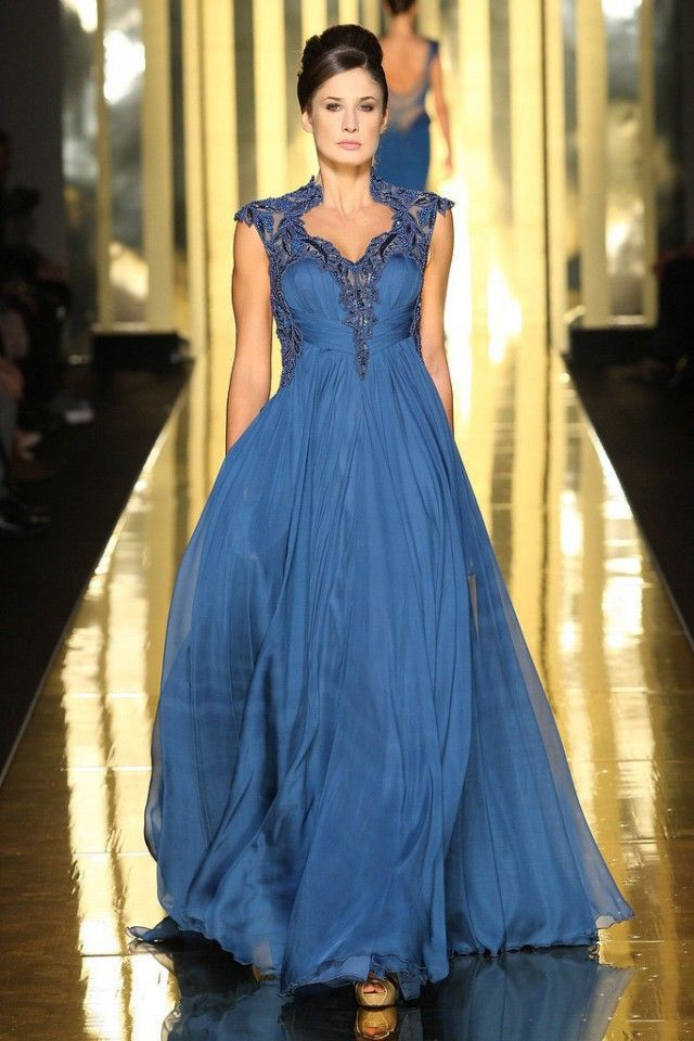 Us 14268 13 Offsapphire Blue Color Vestido De Noiva Evening Dresses Vintage Lace Formal Robe De Soiree Long Chiffon Gowns New 2019 In Evening