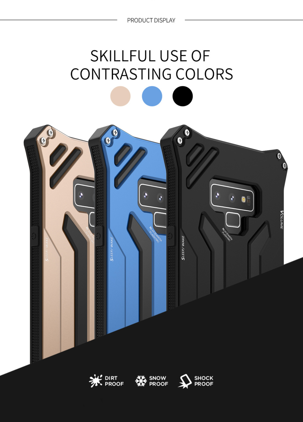 R-Just Gundam Water-resistant Shockproof Dirt-proof Snow-proof Premium Armor Heavy Duty Metal Protective Case Cover for Samsung Galaxy Note 9