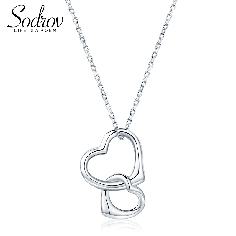 SODROV Genuine 925 Sterling Silver Necklace Double Heart Pendant For Women Love Necklace Pendant Jewelry