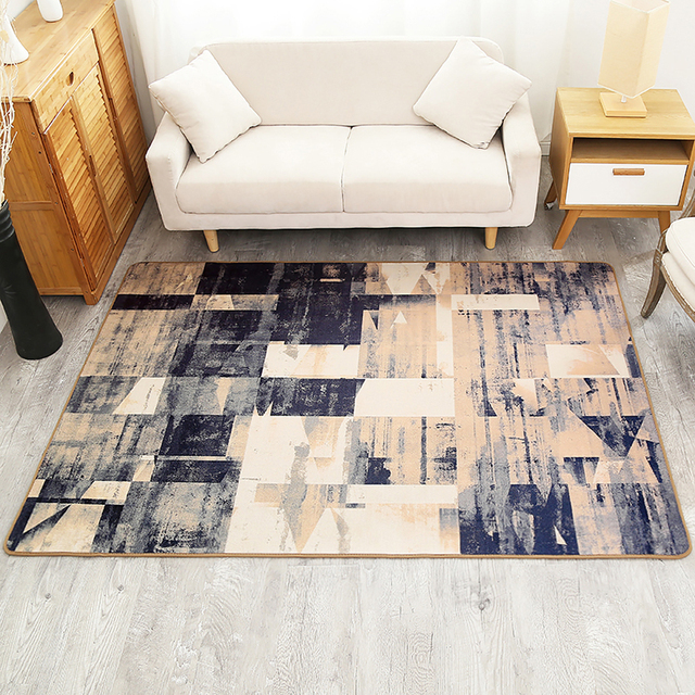 Modern Simple Abstract Geometric Pattern Carpet Non Slip Breathable Living Room Bedroom Area Rug Home