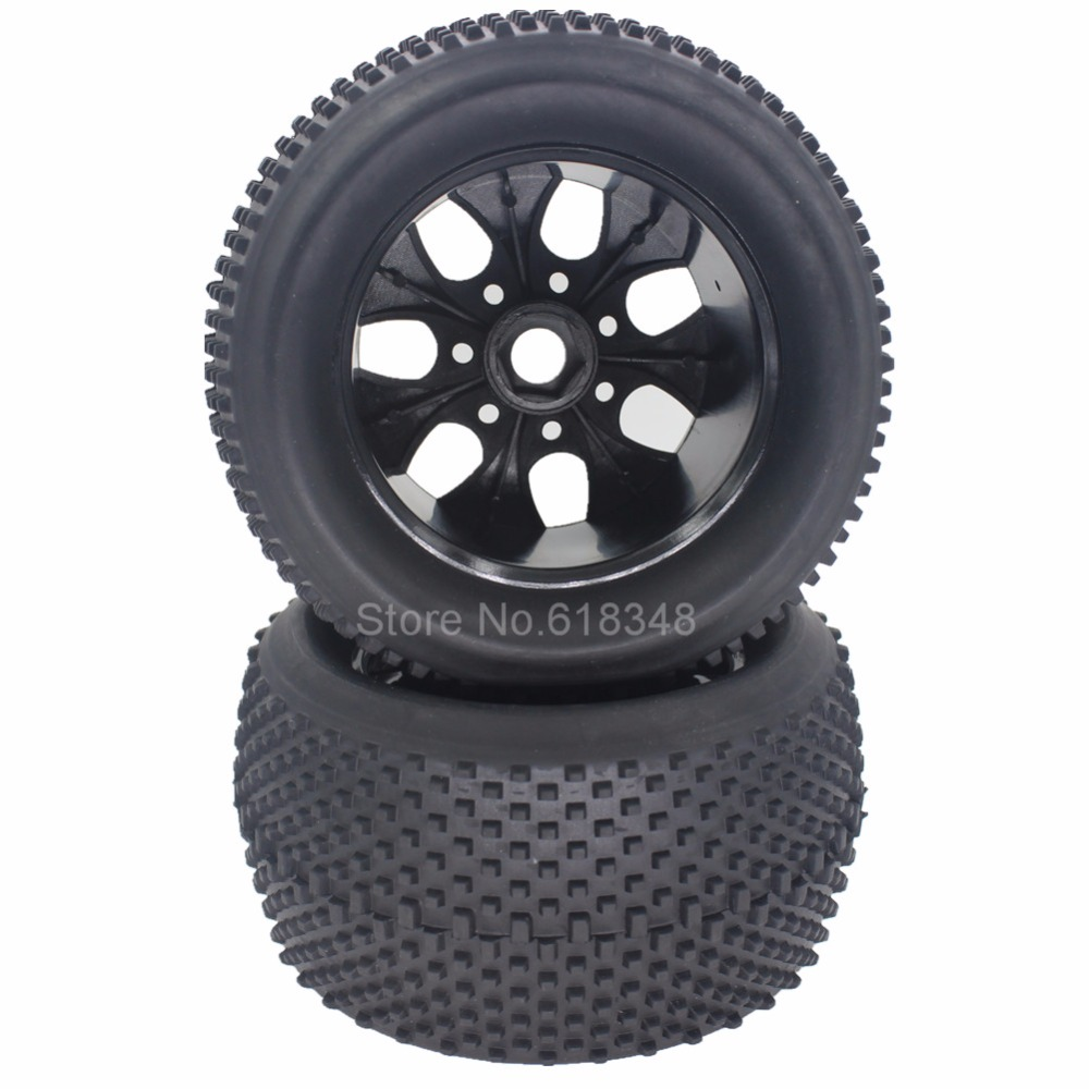 4Pcs/lot 140mm RC 1/8 Monster Truck Rubber Tires & Plastic Wheel Rims 17mm For RC 1:8 HSP Baja 4pcs rc crawler truck 1 9 inch rubber tires