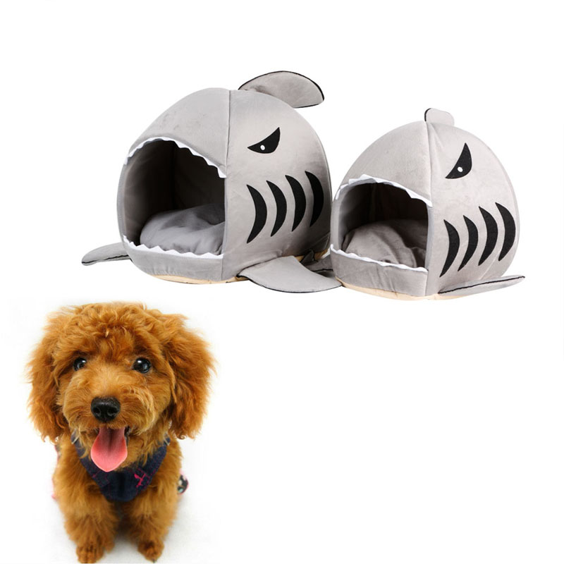2016 2 Size Warm Cute Dog Bed Shark Mouth Pet Dog Kennel Cat Bed Removable Washable Cartoon Pet Sofa Couch Bed Kennel