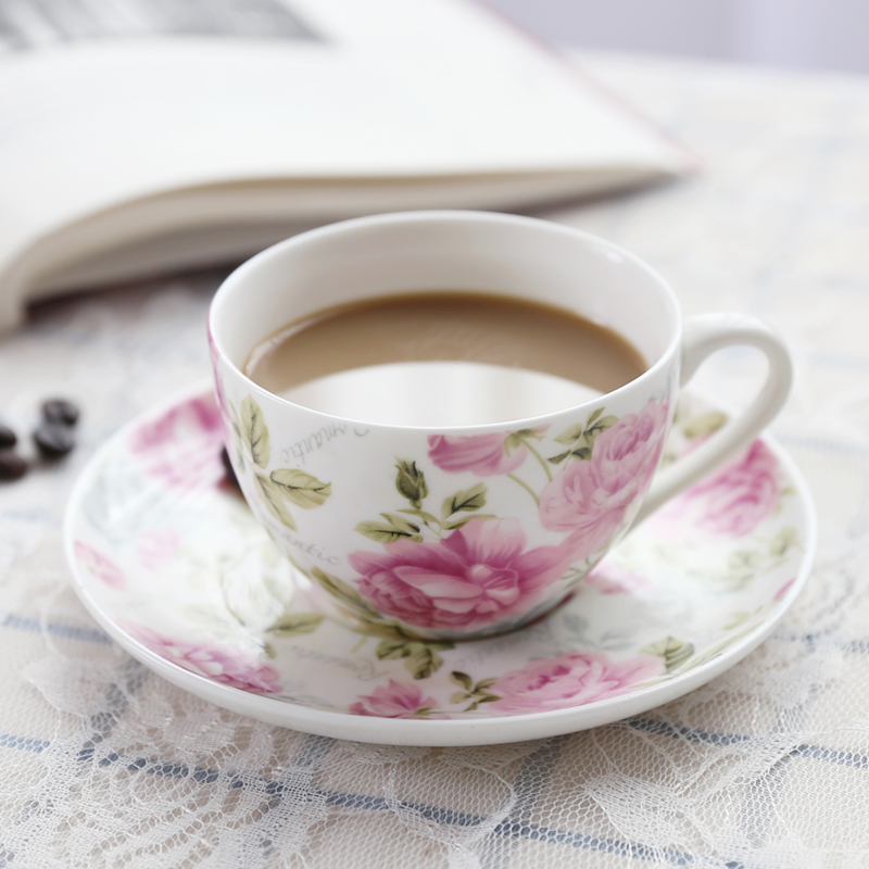 180ML exquisite bone china coffee cup and saucer and spoon set fun fashion design cafe coffee cup European afternoon tea cup in Coffee Cup Saucer Sets from Home Garden