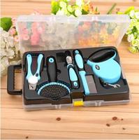 2016 Hot Five Piece Set For Dog Daily Cleaning And Grooming Tools Set Pin Comb/Slick Brush/Dematting Comb/Nail Clipper/Leash
