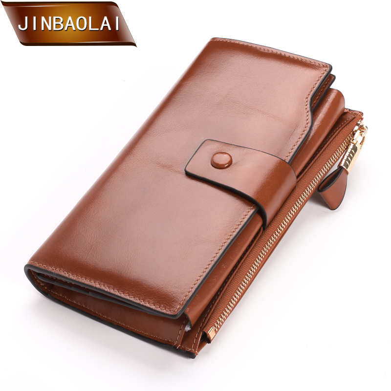 JINBAOLAI Fashion Multifunctional Genuine Leather Women Wallet and Purse Long Purse Card Holder Phone Female Big Clutch Carteira geo