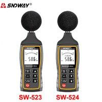 SW524 LCD Digital Sound Level Meter Noise Volume Measuring Instrument Decibel Monitoring Tester 30 130dB USB Data Storage Alarm