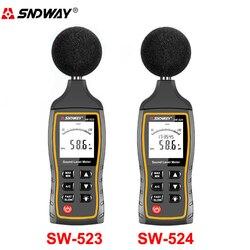 SW524 LCD cyfrowy miernik poziomu dźwięku głośności hałasu przyrząd do pomiaru decybeli przyrząd pomiarowy do obserwacji 30 130dB dane usb do przechowywania Alarm w Mierniki poziomu dźwięku od Narzędzia na
