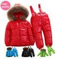 Russa inverno 2016 crianças do inverno do bebê menino meninas macacão conjunto de roupas crianças jaqueta de pato branco para baixo casacos vestuário 256