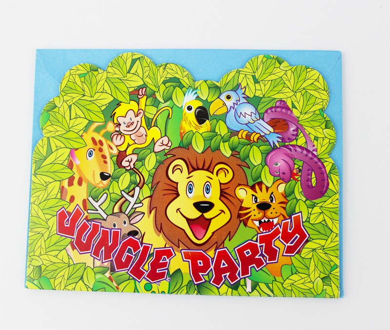 6pcs envelop shape jungle party theme party invitation card kids aeproduct stopboris Choice Image