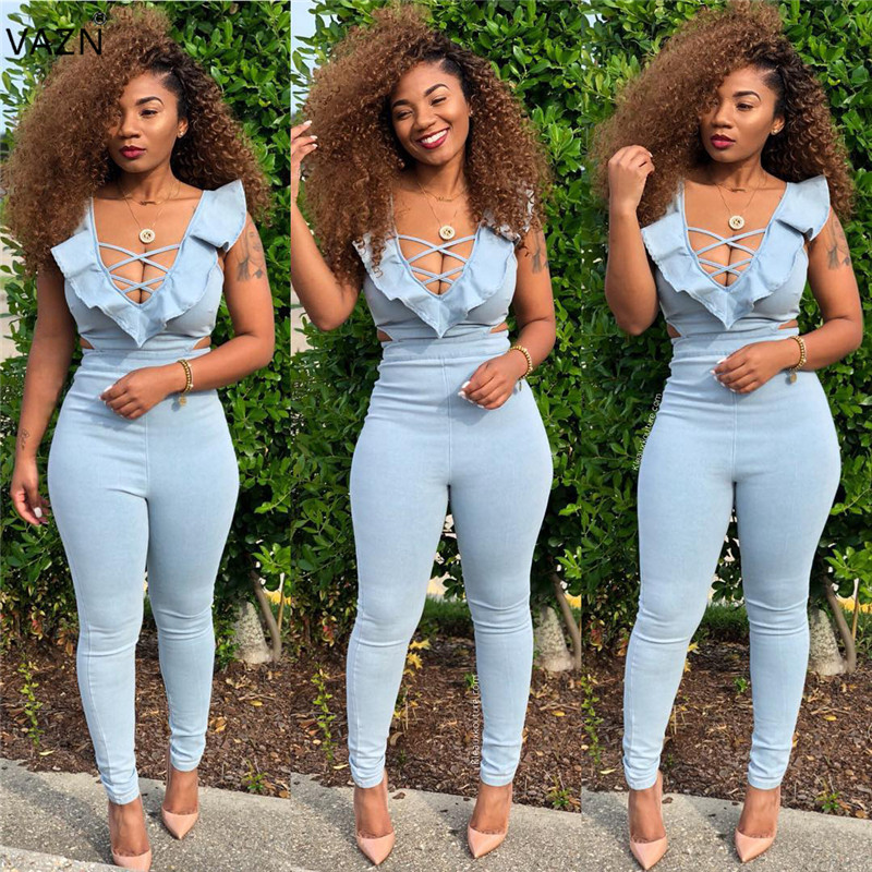 Women's Clothing Vazn Autumn Top Quality New Sexy Design 2018 Women Long Jumpsuits Solid Deep V-neck Full Sleeve Lady Elegant Romper Wml8826
