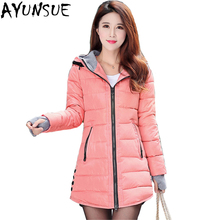 3c10aa47b7ac1 2019 women winter hooded warm coat plus size candy color cotton padded  jacket female long parka