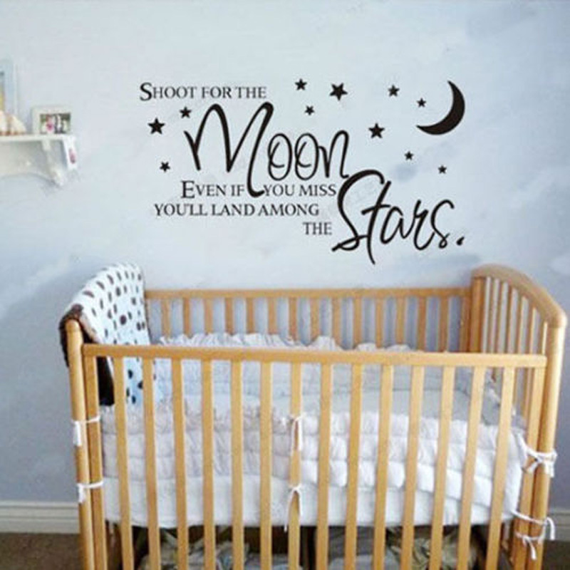 Shoot For The Moon Even If You Miss Quote Stars Vinyl Decal Wall Lettering Words Nursery Baby Kids Bedroom Decor 0127 In Stickers From Home Garden On