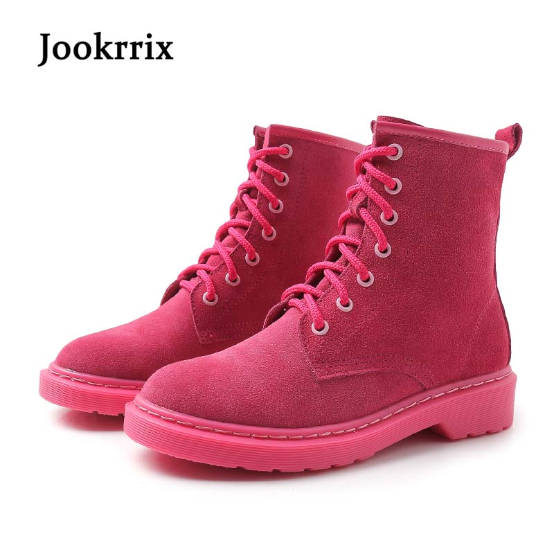 Jookrrix New Autumn Winter Fashion Lady Boot Shoes Women Ankle Martin Boots Warm Genuine Leather Boots Black Cross-tied Rose Red jookrrix autumn fashion boots women shoe metal decoration lady genuine leather zipper martin boot breathable black western style page 10