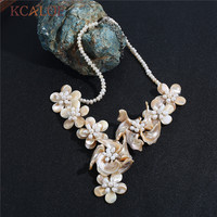 KCALOE Trendy Shell Flower Statement Pendants Necklaces Women Wedding Natural Pearl Collar Necklace Boho Jewelry Colares Bijoux