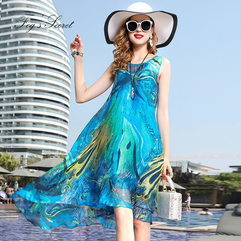 2018 summer new style Women Real silk Dress Bohemia Tourism Seaside resort female silk dress For Beach Shopping Party все цены
