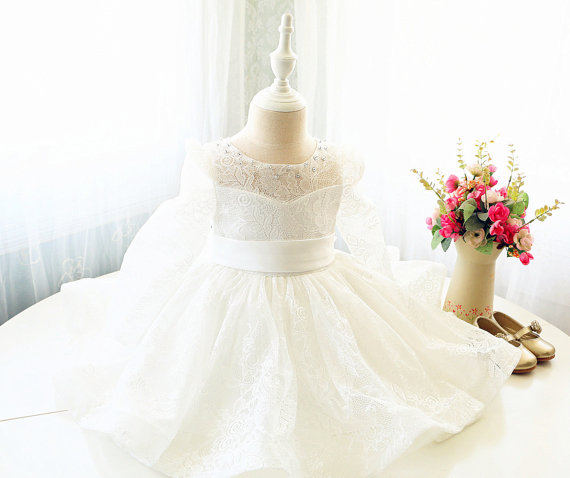 Long Sleeves with bow Toddler Easter Dress Ivory Lace knee-length baby girl christening dress baptism gown pink lace up design cold shoulder long sleeves hoodie dress