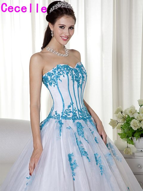 Online Shop Colorful Non Traditional Women Blue And White Wedding ...