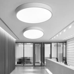 Image 2 - Lustre moderne à Led, noir et blanc, plafonnier rond en acrylique pour le salon, la chambre à coucher, la cuisine, éclairage ultra mince