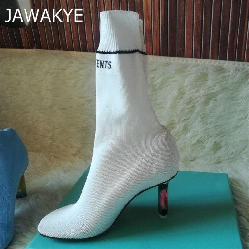 2018 Branco Novo Design de Luxo Mais Leve Inpired Meia Calcanhar Estranho botas de Mulher Sexy Sapatos de Salto Alto Mulheres Azul Bege Trecho botas