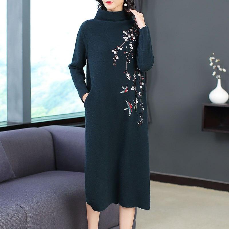 2018 mode pull col roulé robe hiver Style femmes mignon oiseaux Floral broderie à manches longues mi-mollet laine tricoté robe