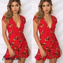цена на Women Summer Boho Short Sleeve Floral Dress Ladies Deep V-neck Ruffles Mini Dress Evening Party Beach Dresses Vestidos de fiesta