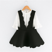 Brand Autumn Girls Clothes 2017 New Girls Clothing Sets White Lace Net Yarn Long Sleeves Harness