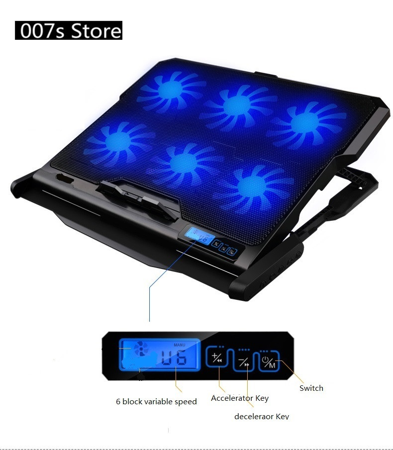 Nouveau bleu radiateur refroidisseur ordinateur portable ventilateur de refroidissement pour glace COOREL K6 2 Ports USB Six ventilateurs Pad support pour ordinateur portable 14