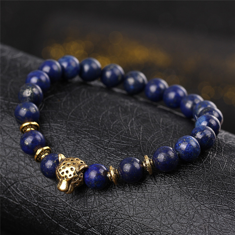 DUOVEI Weathering Stone Leopard Head Beaded Bracelet For Men New Fashion Natural Stone Tiger Eye Onyx Lava Beads Bracelets 4