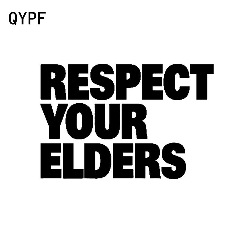 QYPF 13.7cm*9cm Fashion Respect Your Elders Retro-reflective Car Window Sticker Decal Black Silver Vinyl C15-1531