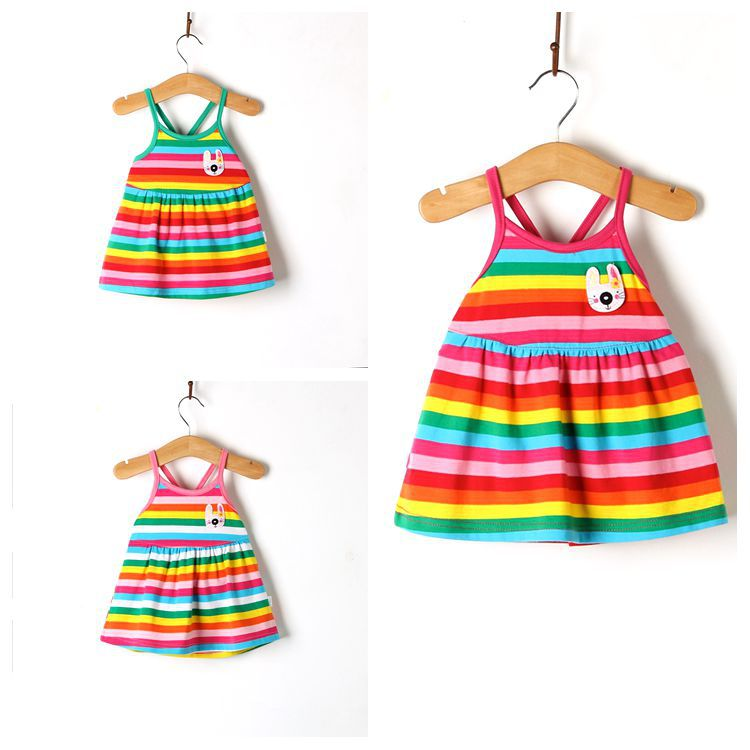 2017 summer new baby girl children's cotton vest dress dress striped rainbow Princess Dress Baby Baby Sling Dress 0-1-3 years ol