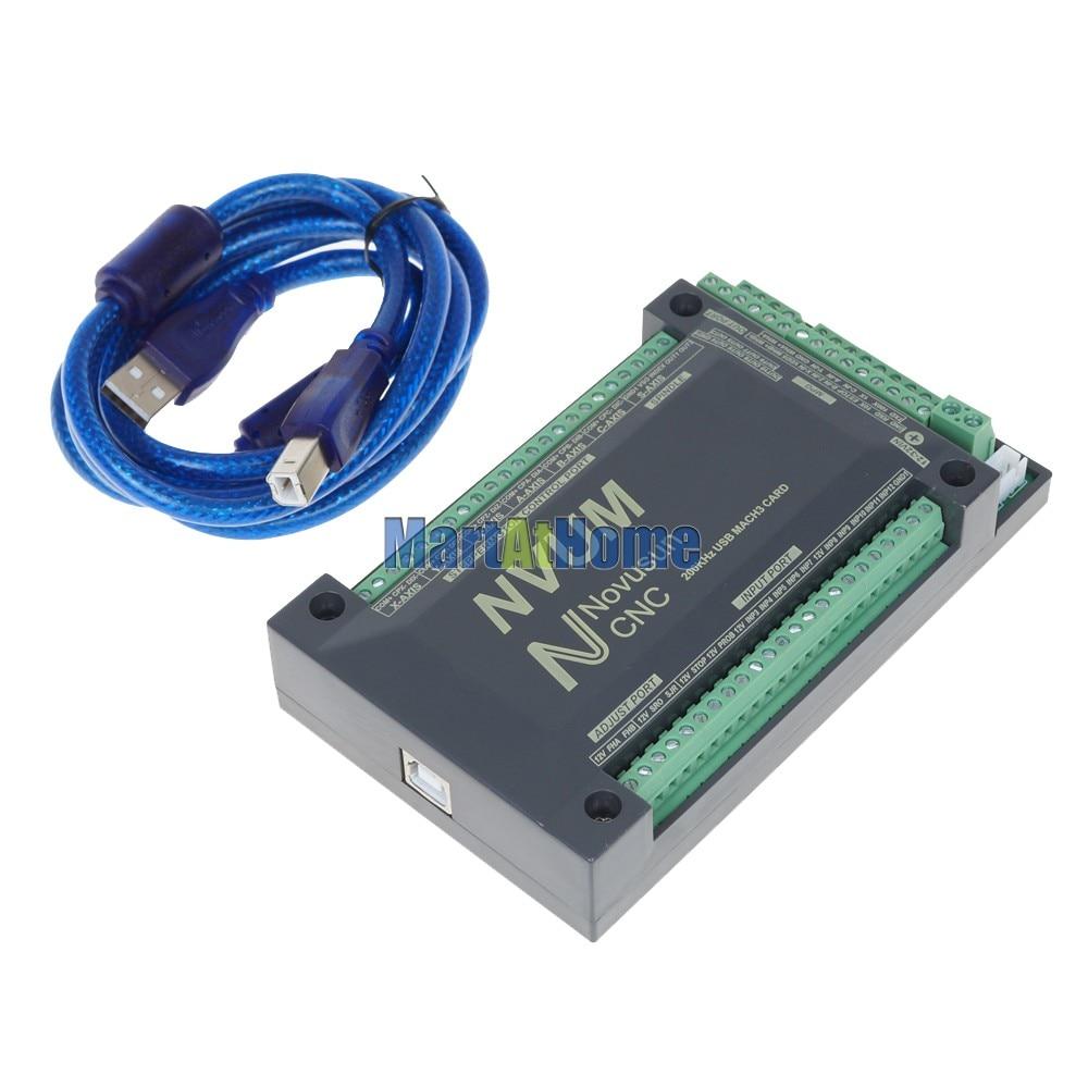 Купить с кэшбэком NVUM4 V2 CNC 200 KHz 4 Axis USB Mach3 Motion Control Card Breakout Interface Board Controller @CF