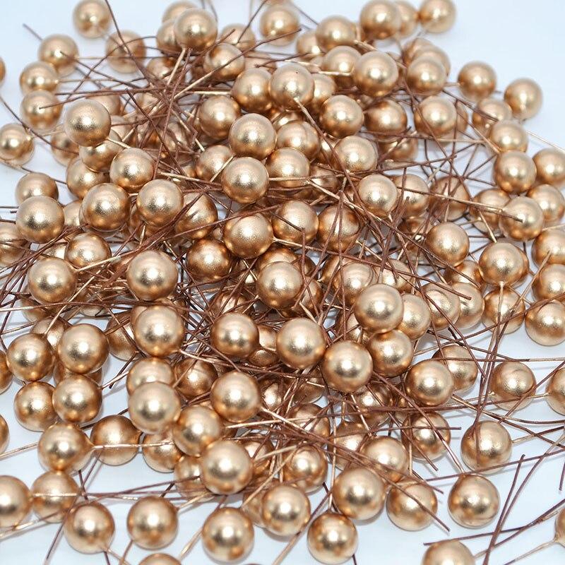 50 шт. 12 мм Мини жемчуг пластик искусственные тычинки Cherry тычинки Свадебные Рождество венки DIY подарочная коробка украшения