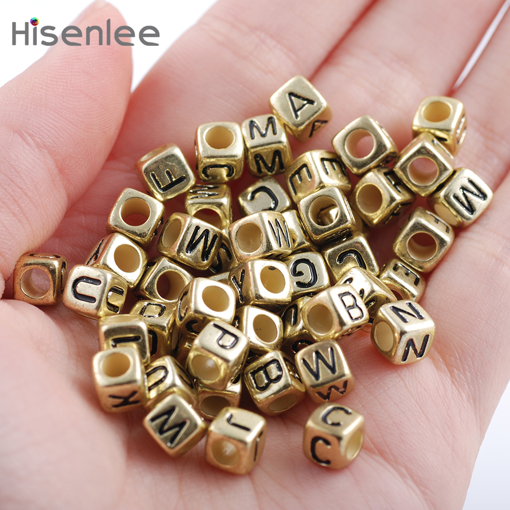 Hisenlee High Quality 200pc 6x6mm 3.5MM Hole Mixed Alphabet Ancient - Fashion Jewelry - Photo 4