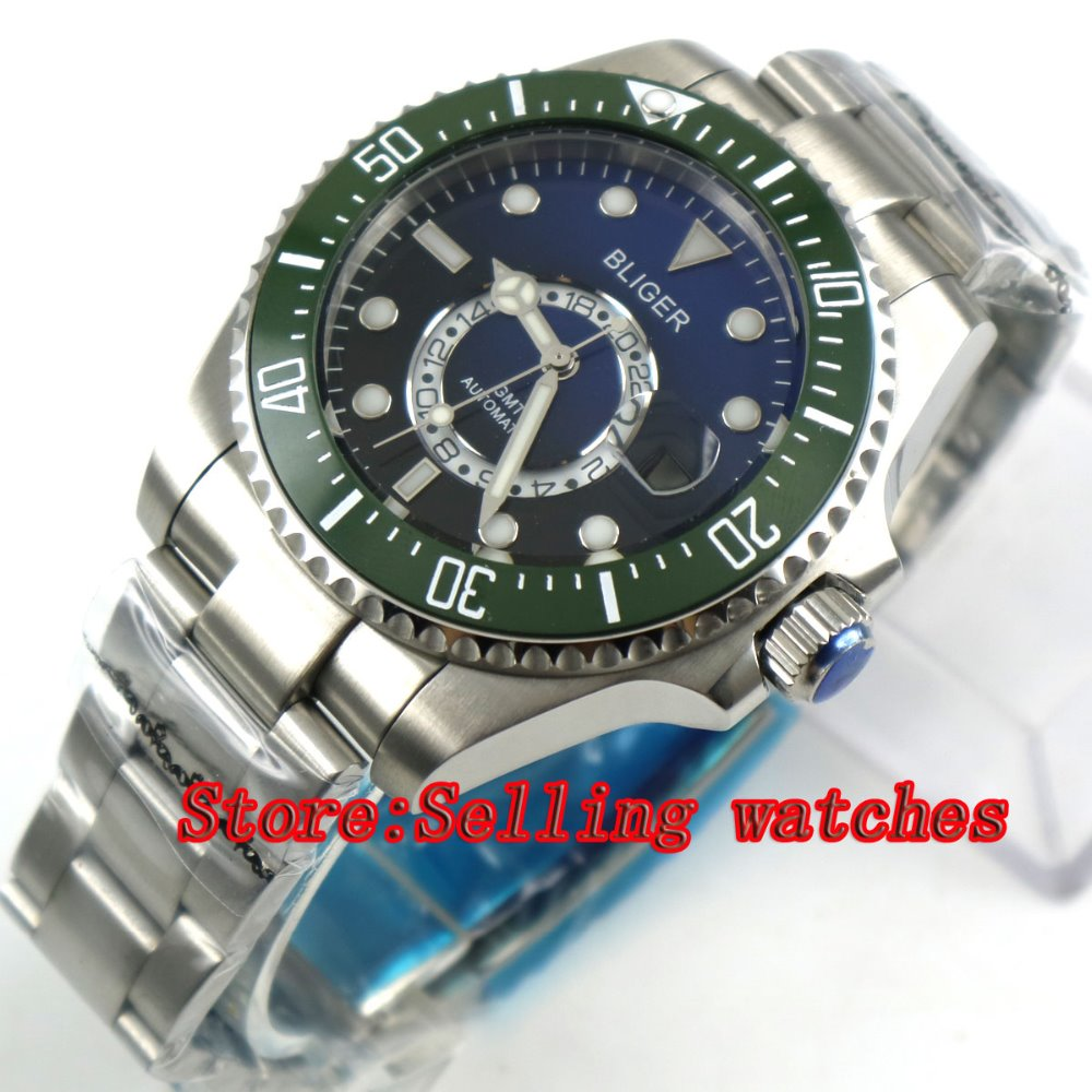 43mm Bliger Stainless Steel Case Black Blue Dial green Ceramic Bezel Luminous Mechanical Mens Wristwatch