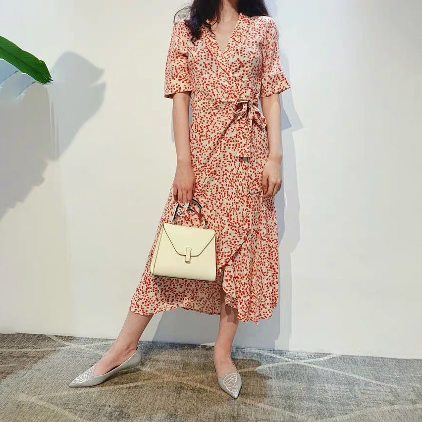 Women Dress 2019 Spring Summer Collection Printed V neck Lace Dress