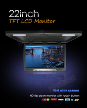 Buy 22 Inch Bus Coach Roof Mount LCD Monitor Flip Down DVD Screen Overhead Multimedia Car Video Player Ceiling Roofmount AD Display  directly from merchant!