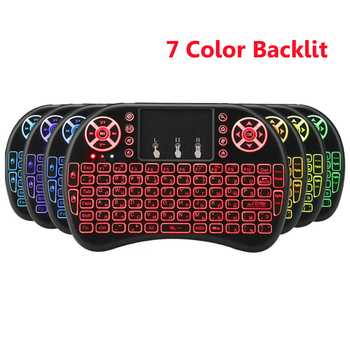 i8 keyboard Backlit 7 Colors English Russian Spanish 2.4GHz Wireless Keyboard Air Mouse Touchpad for Android TV BOX Mini PC
